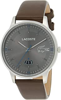 Lacoste Mens Quartz Watch, Analog Display and Leather Strap 2011033
