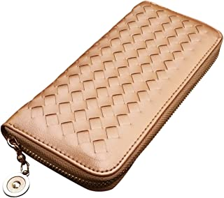 AM Landen Braided Synthetic Leather Zip Around Long Wallets Organizer (Gold)