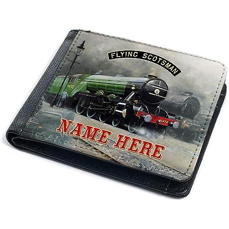 Flying Scotsman Train Wallet Mens Bi-Fold Coin Card Holder Trainspotter Personalised (Flying Scotsman FST01)