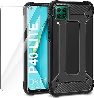 AROYI Huawei P40 Lite fodral + härdat glas skärmskydd, Svart