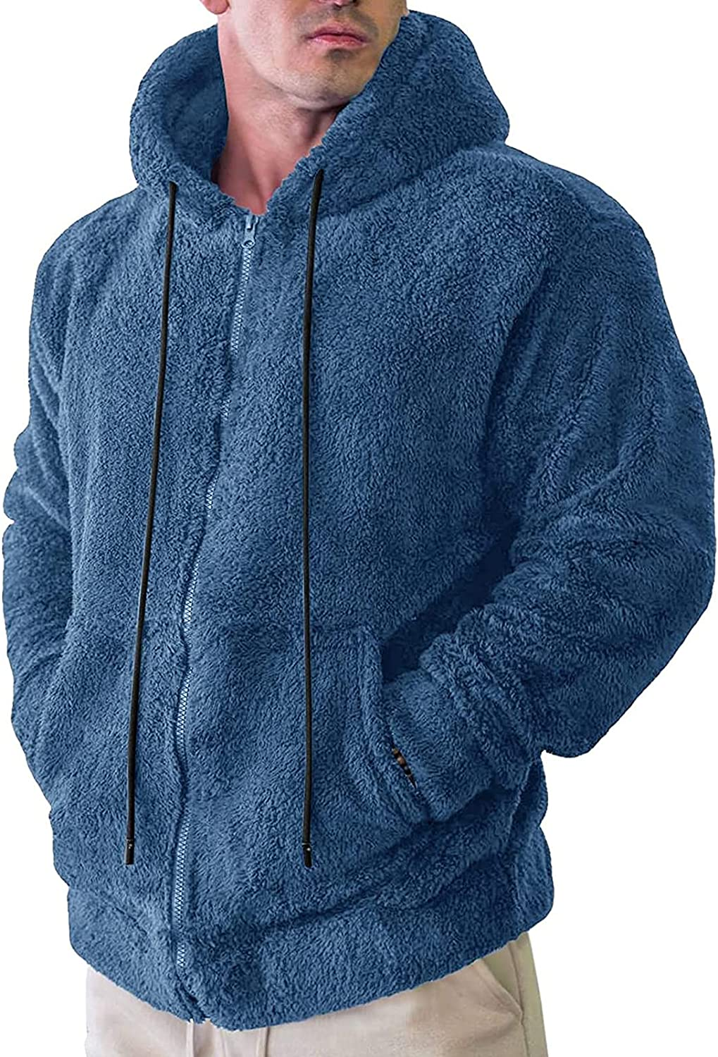Esbelle Mens Fuzzy Sherpa Pullover We OFFer at cheap prices Hoodie Solid Long Sweatshirts Popular overseas