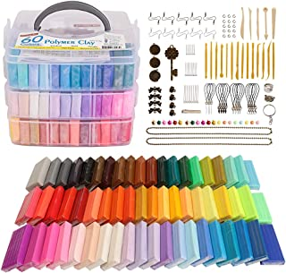 Polymer Clay, 60 Colors Shuttle Art 1.3 oz/Block Oven Bake Modeling Clay Kit with 19 Sculpting Clay Tools and Accessories,...
