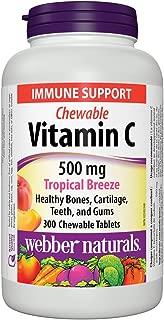 Webber Naturals Vitamin C Chewable 500 mg, Tropical Breeze, 300 Chewable Tablets