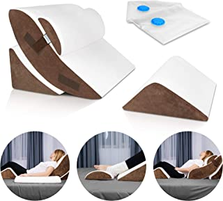 Lunix LX5 4pcs Orthopedic Bed Wedge Pillow Set, Post Surgery Memory Foam for Back, Neck and Leg Pain Relief. Sitting Pillo...