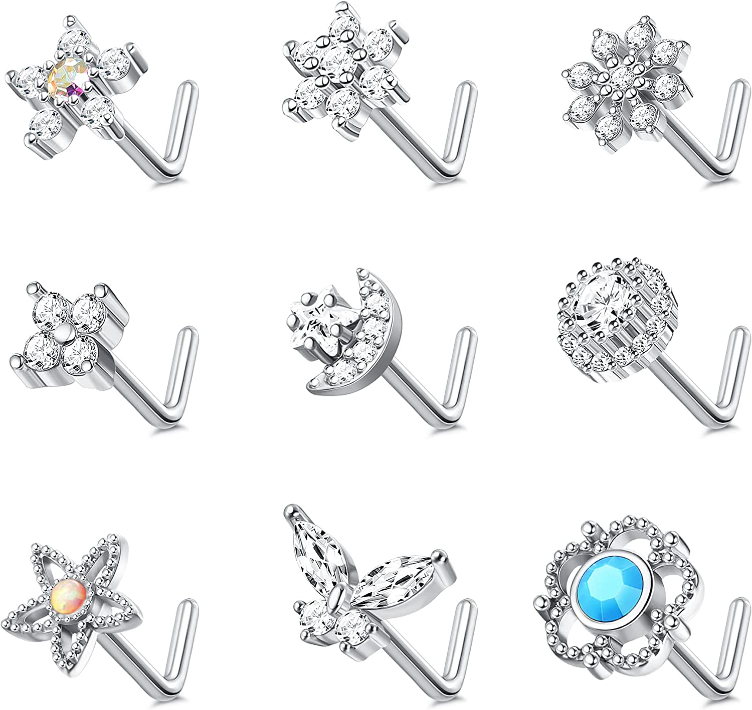 IRONBOX 9Pcs 20G Nose Rings Sale item Women for Studs Stainless Steel Limited time sale