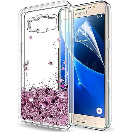 LeYi Coque Galaxy J5 2016 Etui avec Film de Protection écran, Fille Personnalisé Liquide Paillette Transparente 3D Silicone Gel TPU Antichoc Kawaii ...