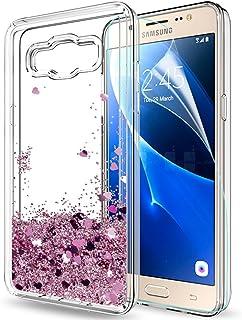 LeYi Compatible with Funda Samsung Galaxy J5 2016 Silicona Purpurina Carcasa con HD Protectores de Pantalla,Transparente Cristal Bumper Telefono Gel TPU Case Cover para Movil J5 2016 X Oro Rose