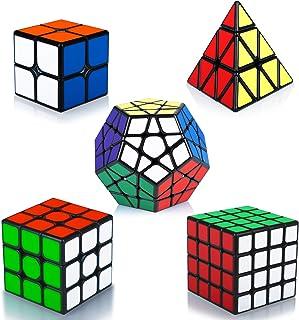 Maomaoyu Rubiscube Speed Cube ,Cube de Vitesse Pack de 5,Ensemble de Cubes 2x2 3x3 4x4 Megaminx Pyraminx Pyramide Cube(Aut...