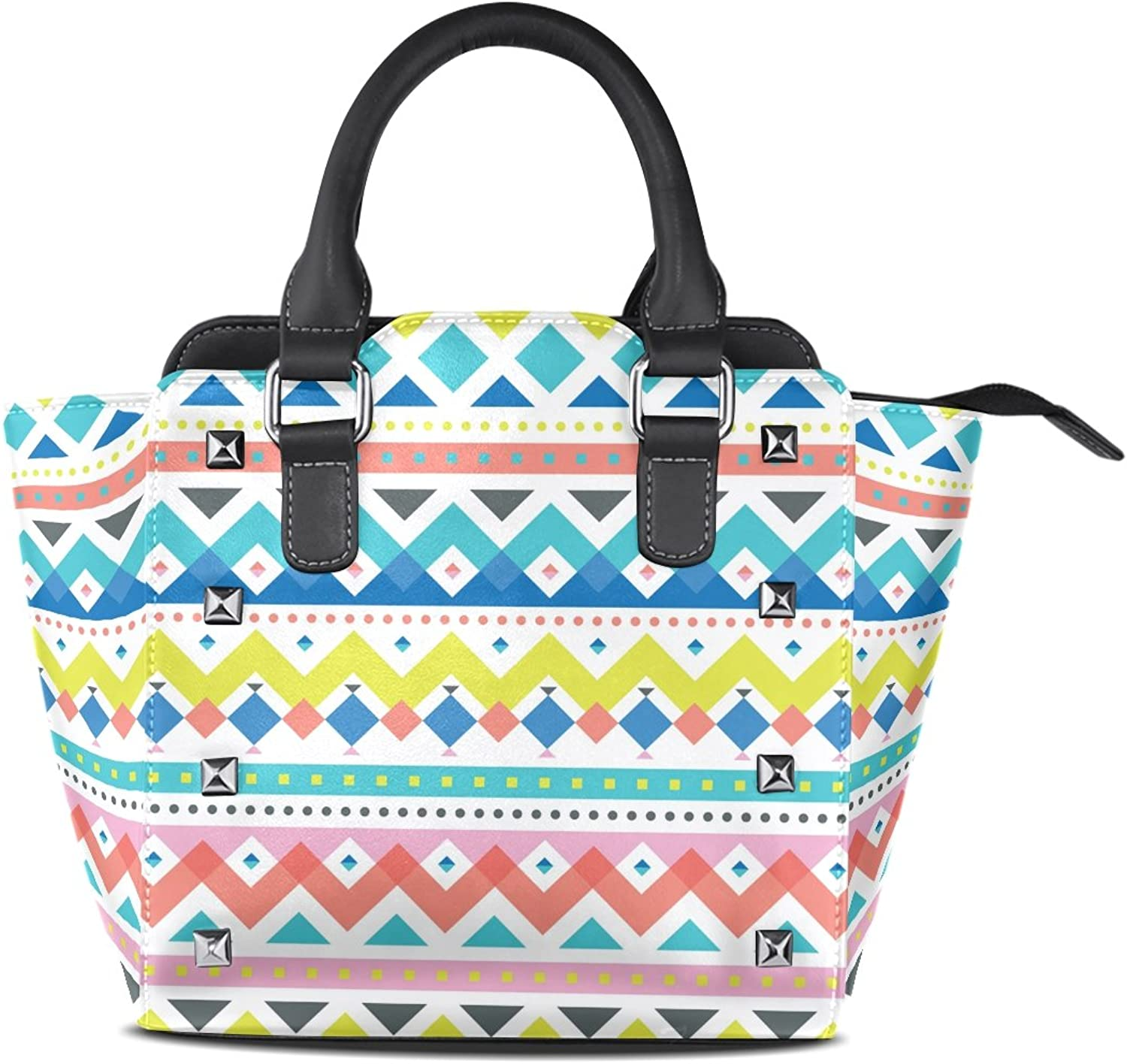 My Little Nest Women's Top Handle Satchel Handbag Aztec Chevron Geometric Art Print Ladies PU Leather Shoulder Bag Crossbody Bag