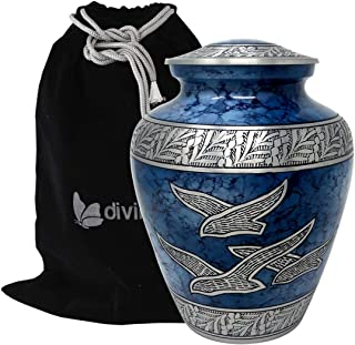 Divinityurns Wings of Hope Cremation Urn - Large Wings of Freedom Urn - Returning Home Adult Urn - Handcrafted Affordable Urn for Human Ashes with Velvet Bag (Blue)