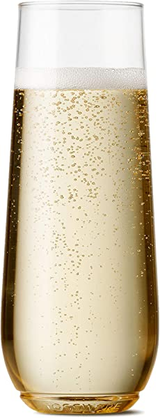 TOSSWARE 9oz Flute Recyclable Champagne Plastic Cup SET OF 48 Stemless Shatterproof And BPA Free Flute Glasses