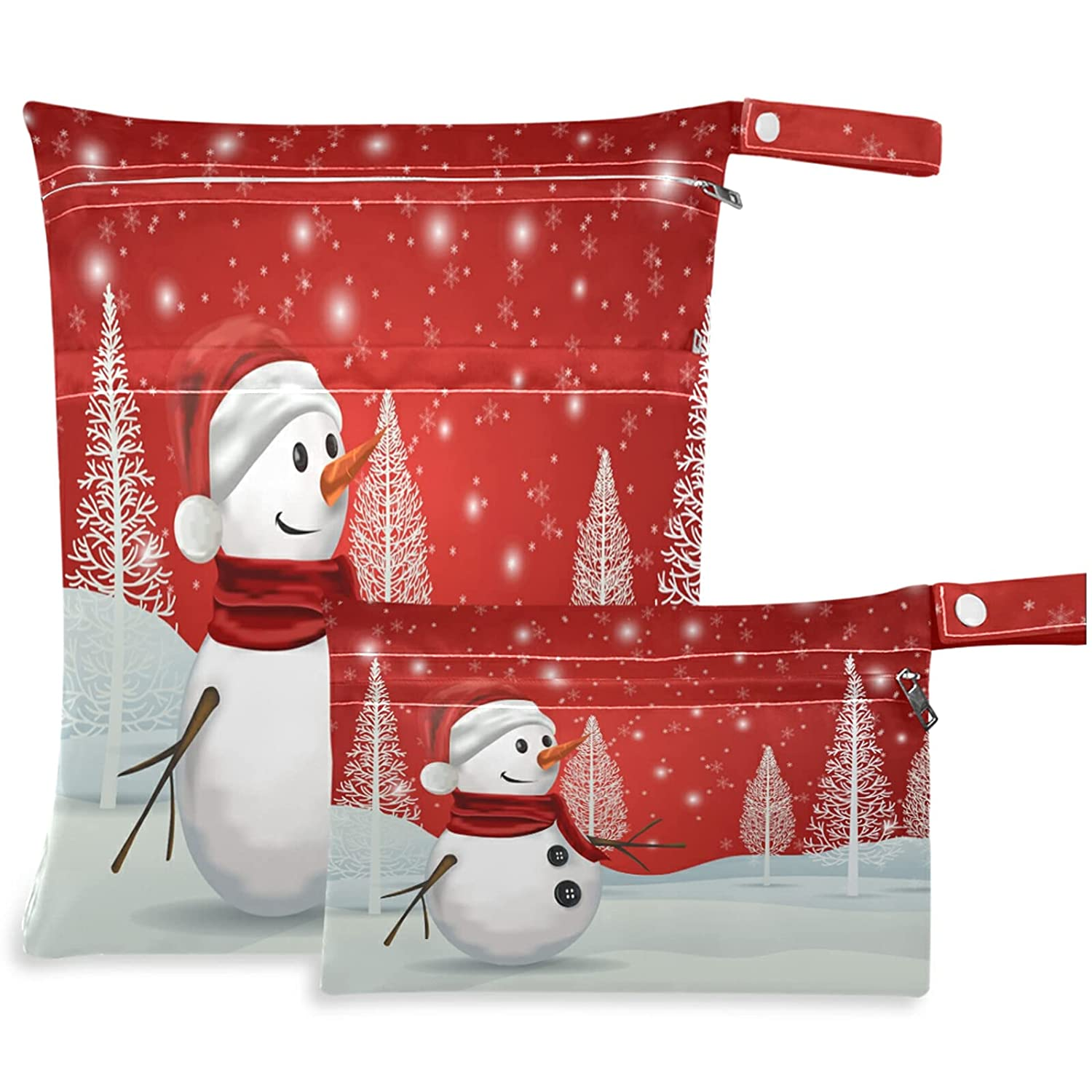 visesunny Snowman On Red Trust Popular product Snowflake 2Pcs with Bag Wet Po Zippered