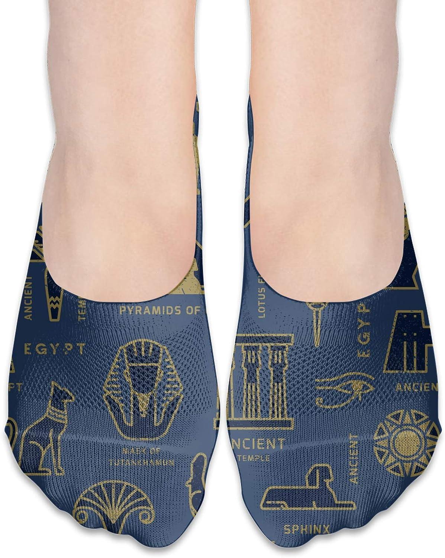 Based On The Symbols Of Ancient Egypt Comfortable Boat Socks-Sweat Wicking Non-Slip Socks Leisure Sports Deodorant Foot Socks