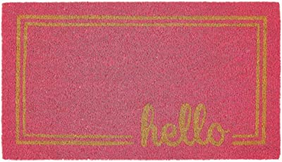 mDesign Rectangular Coir and Rubber Entryway Welcome Doormat with Natural Fibers for Indoor or Outdoor Use - Decorative Script Hello Design - Dark Pink/Natural