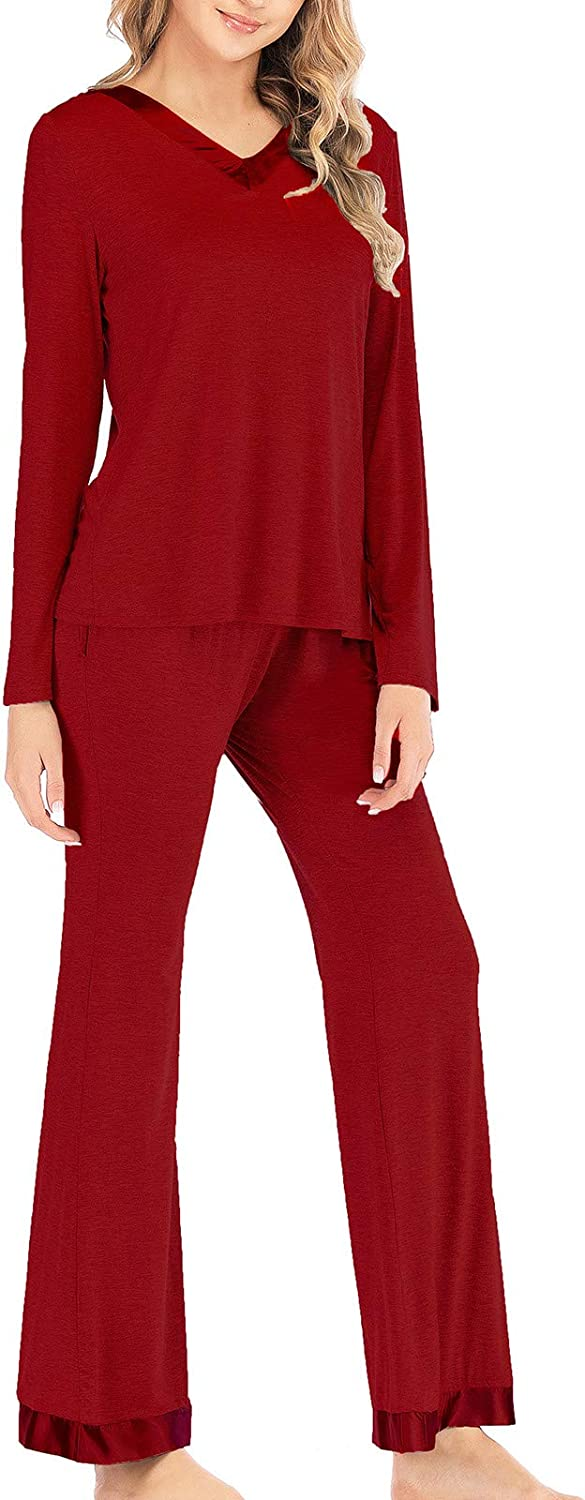 Pajamas Women's overseas Long Sleeve Selling and selling Pajama Set Piece 2 Solid Tops Color