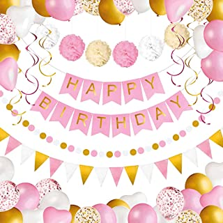 Beauenty 69Pcs Party Supplies Kit Pink and Gold Party Supplies Birthday Banner, Tissue Flower, Confetti Balloons for Weddi...