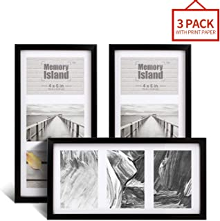Memory Island, 7x14 Collage Picture Frame, Display 3 4x6 Photos, 3 Openings in Black. Set of 3 Pack for Wall Decor.