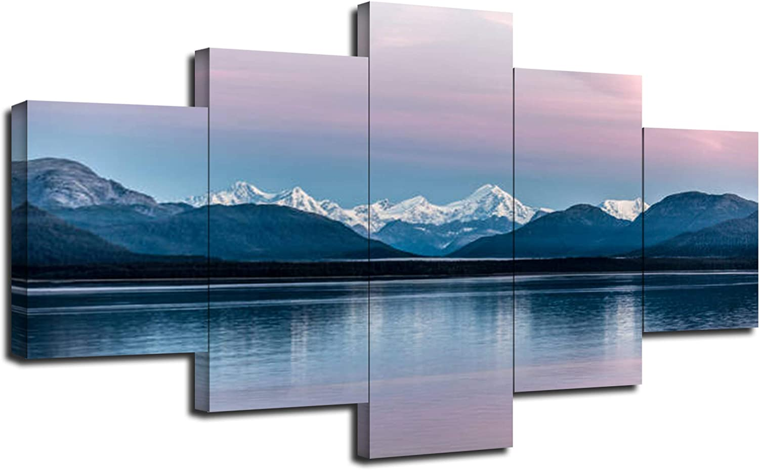 Glacier Bay National Park Wall Decor USA Alaska Mountain Paintings on Canvas Pictures Framed Art Printing 5 Pieces Posters with Frame Ready to Hang(60''Wx32''H)