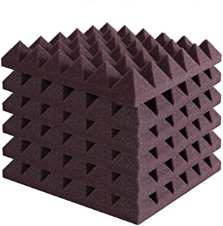 Foamily 6 Pack - Burgundy Acoustic Foam Sound Absorption Pyramid Studio Treatment Wall Panels, 2