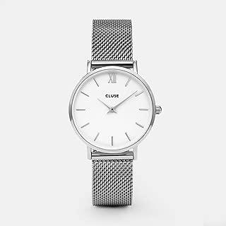 CLUSE Minuit Mesh Silver White CL30009 Women's Watch 33mm Stainless Steel Strap Minimalistic Design Casual Dress Japanese Quartz Elegant Timepiece