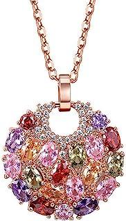 Mecool Collar Colgante Collar de Oro Rosa Collar cúbico de circonia Collar Colgante de Disco Redondo de múltiples Piedras