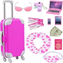 ZITA ELEMENT 16 Pcs American Doll Suitcase Luggage Travel Play Set for Girl 18 Inch Doll Travel Carrier Storage, Including...