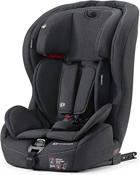Kinderkraft Car Seat SAFETY FIX, Booster Child Seat, with Isofix, Top Tether, Adjustable Headrest, for Toddlers, Infant, Group 1-2-3, 9-36 Kg, Up to 12 Years, Safety Certificate ECE R44/04, Black: image