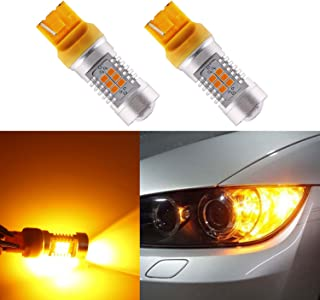 XSPEED LIGHTING 7440 7441 T20 LED Light Bulbs 1280 Lumens Extremely Bright RX-Chips Aluminum Body with Projector Lens For Replace Turn Signal Lights, Amber Yellow