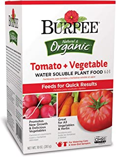 Burpee Organic Tomato and Vegetable Water Soluble Plant Food 6-2-3, 10 oz, Box