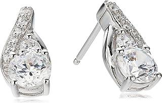 Sterling Silver Cubic Zirconia Tear-Drop Earrings