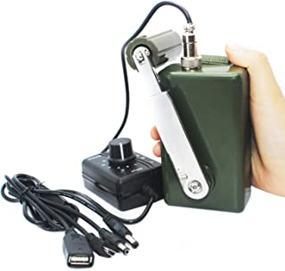 Tech-L Hand Crank Generator 30W 0-28V Portable Dynamo Phone Charger Military for Outdoor Mobile Phone Computer Charging with USB Plug (Green with DC Regulator+ LED Screen)