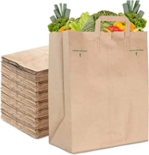 Stock Your Home 70 Lb Kraft Brown Paper Bags with Handles (50 Count) - Kraft Brown Paper Grocery Bags Bulk - Large Paper B...