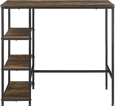 Table de Bar avec Rangement Table de Bistrot avec 3 Étagères Structure Solide en Acier Laqué Panneau de Particules 100 x 109