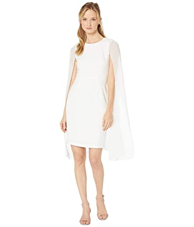 Calvin Klein Sheath Dress w/ Chiffon Cape (Cream) Women