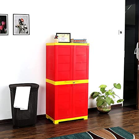 Cello-CLO_WIM_NOVBG_RDYEL Novelty Big Cupboard with 3 Shelves (Red and Yellow)