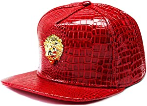 King Yang Hip Hop Cap Crocodile Pattern Baseball Cap Adult Snap-Back Caps Adjustable Flat Brim Unisex Snap Back Hats