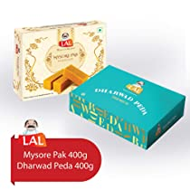 Lal Sweets Combo Pack of Mysore Pak 400 g and Dharwad Peda 400 g