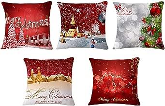 Desun 5 Packs Happy Christmas Square Pillowcases 18 X 18 Inch Christmas Decorative Throw Pillow Cover