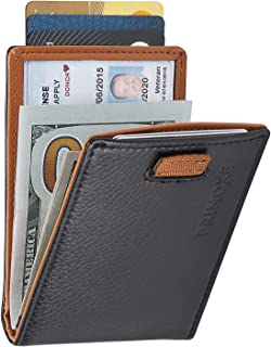 Bifold Wallet with Money Clip for Men-RFID Blocking Card Holder-Wallet Genuine Leather, Bifold Thin-Slim Minimalist Design- Travel, Business-Smart Removable Money Clip, Pull Out Card, ID Holder-Black