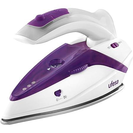 UFESA Activa Bosch PV0500 Active – Fer à Repasser à Vapeur de Voyage avec Poignée Pliable, 1100 W max, bivoltaje 110/230 V, blanc et violet