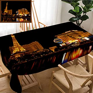 """Unique Custom Design Cotton and Linen Blend Tablecloth Las Vegas Decor Las Vegas Nevada USA Sept Nightlife Along The Famous Las Vegas Strip with Tablecovers for Rectangle Tables, Small Size 48"""" x 24"""""""
