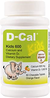 D-Cal® Kids 600 Orange Flavor Calcium and Vitamin D Dietary Supplement for Bone Health and Bone Strength - Chewable Tablet...