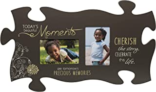 P. Graham Dunn Beautiful Moments Memories Grey Floral 13 x 22 Wall Hanging Double Photo Puzzle Piece Frame
