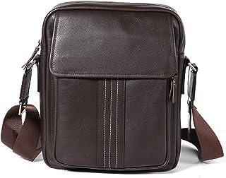 Shoulder Bags Genuine Leather Men's Bag Casual Messenger Bag Cowhide Men's Work Bag 6L Brown Square Bag Outdoor Fashion Cross-Package Leather Bag