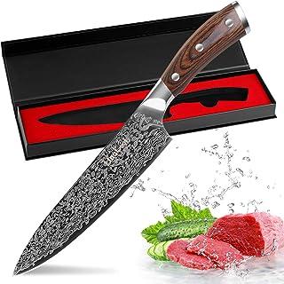 FineTool Couteau de Cuisine, 8 Pouces Couteau de Chef Professionnel, couperet à légumes Allemand 7Cr17 en Acier Inoxydabl...