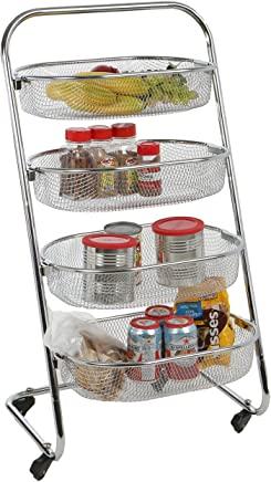 featured product Mind Reader 4 Tier Metal Wire Rolling Basket All Purpose Utility Cart Rack,  Silver