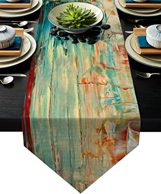 Linen Burlap Table Runner Dresser Scarves, Abstract Textured Canvas Painting Kitchen Table Runners for Dinner Holiday Parties
