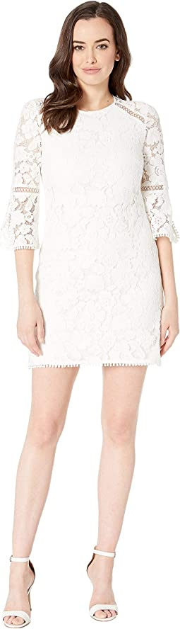 Lace T-Body Dress with 3/4 Sleeve and Trim