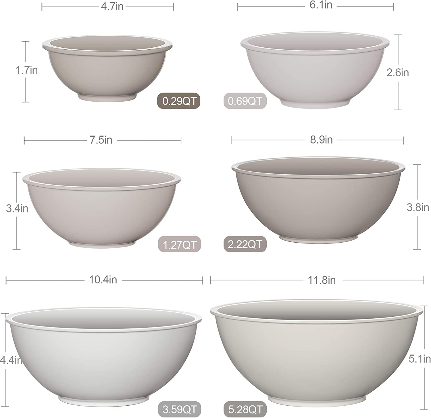 6 Pcs Serving Bowls for Kitchen Cooking Ideal for Baking YIHONG Plastic Mixing Bowls Set Cooking and Serving Food Prepping Nesting Bowls Set for Space Saving Storage,Blue Ombre