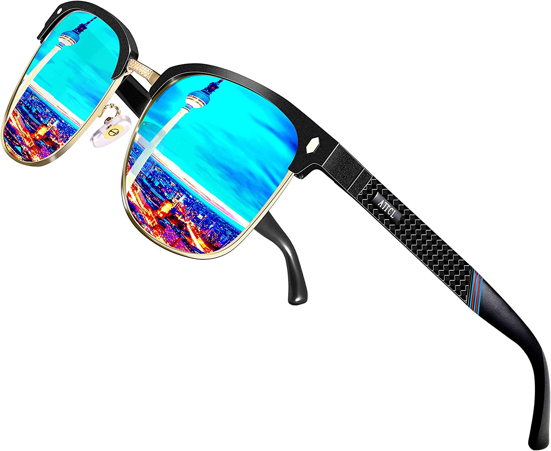 ATTCL Homme Lunettes De Soleil Polarisé Semi-cerclées Al-Mg métal Cadre Super Léger Bleu